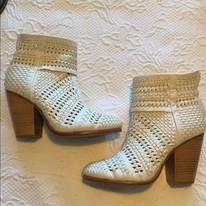 Rag & Bone white woven leather booties 38.5